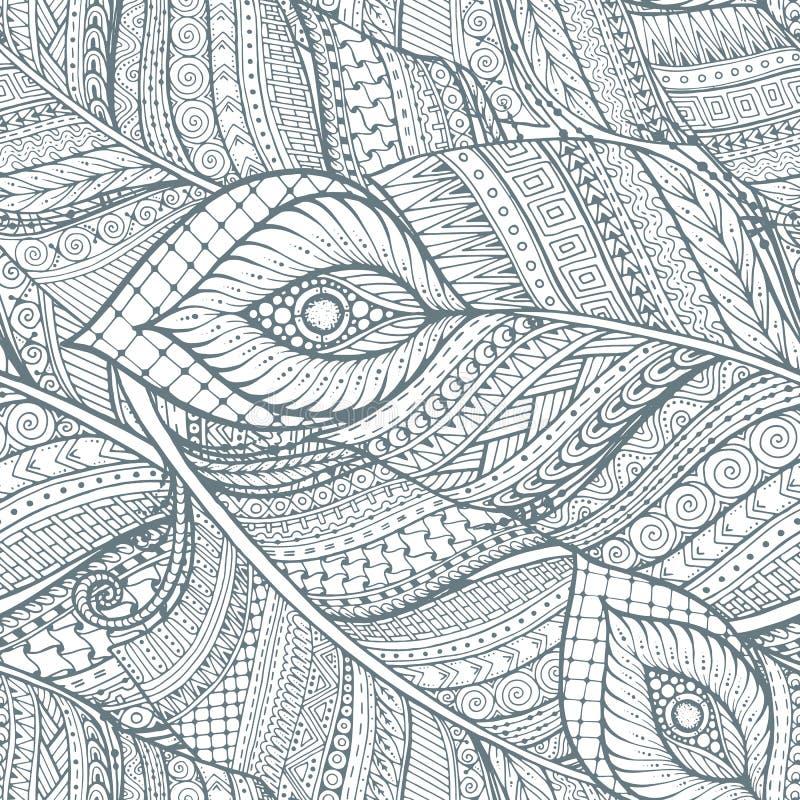 Sömlös asiatisk etnisk blom- retro klotterbakgrundsmodell i vektor med fjädrar vektor illustrationer