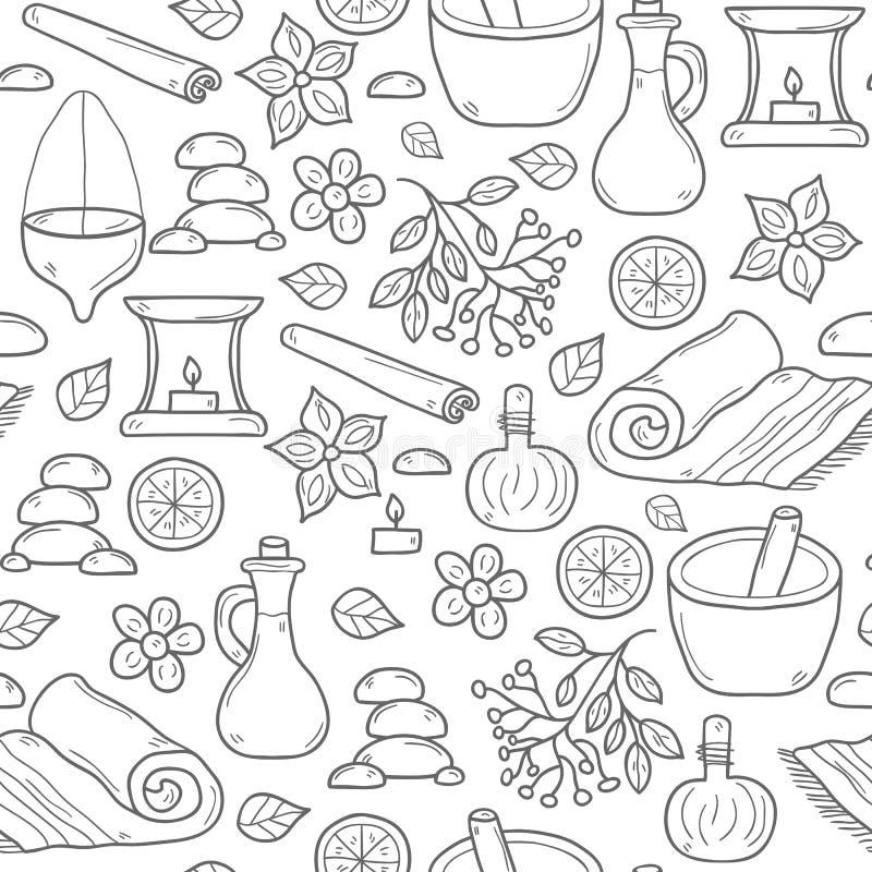 Sömlös ayurvedabakgrund royaltyfri illustrationer