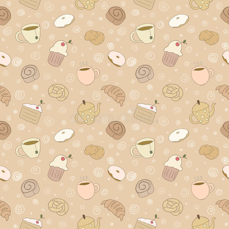 Sömlös bageriproduktmodell stock illustrationer