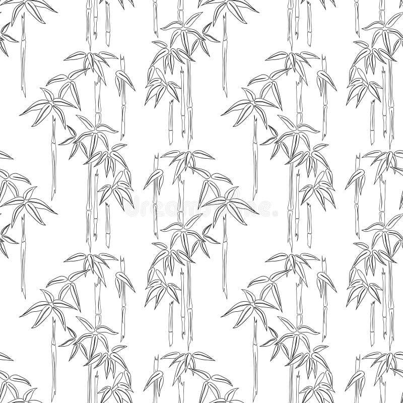 Sömlös bakgrund av bambu skissar royaltyfri illustrationer