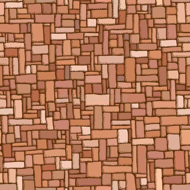 Sömlös bakgrund av den bruna tegelstenväggen med skuggor royaltyfri illustrationer
