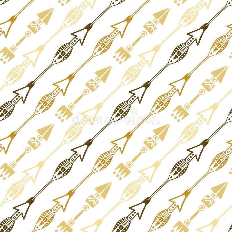 Sömlös bakgrund av den etniska pilen i guld- färger Hand dragen pilvektormodell vektor illustrationer