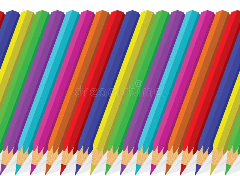 Sömlös bakgrund av färgrika blyertspennor royaltyfri illustrationer