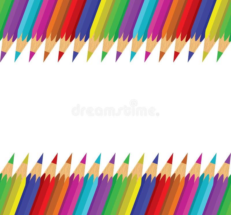 Sömlös bakgrund av färgrika blyertspennor vektor illustrationer