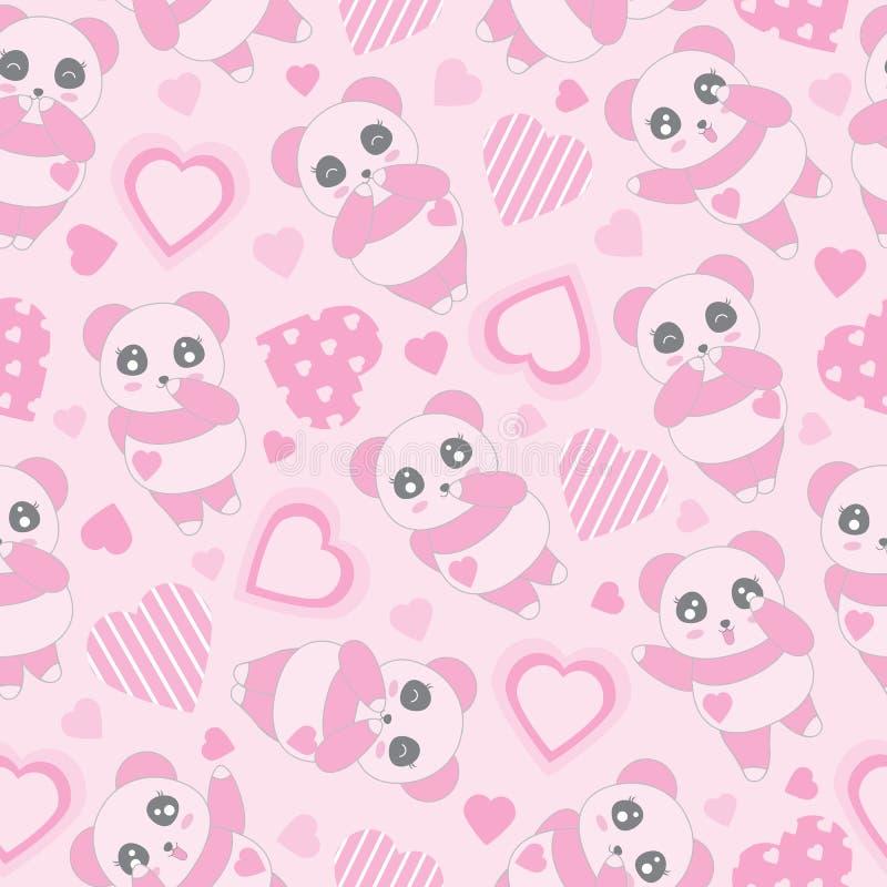 Sömlös bakgrund av illustrationen för dagen för valentin` s med gulligt behandla som ett barn rosa färgpanda- och förälskelseform royaltyfri illustrationer