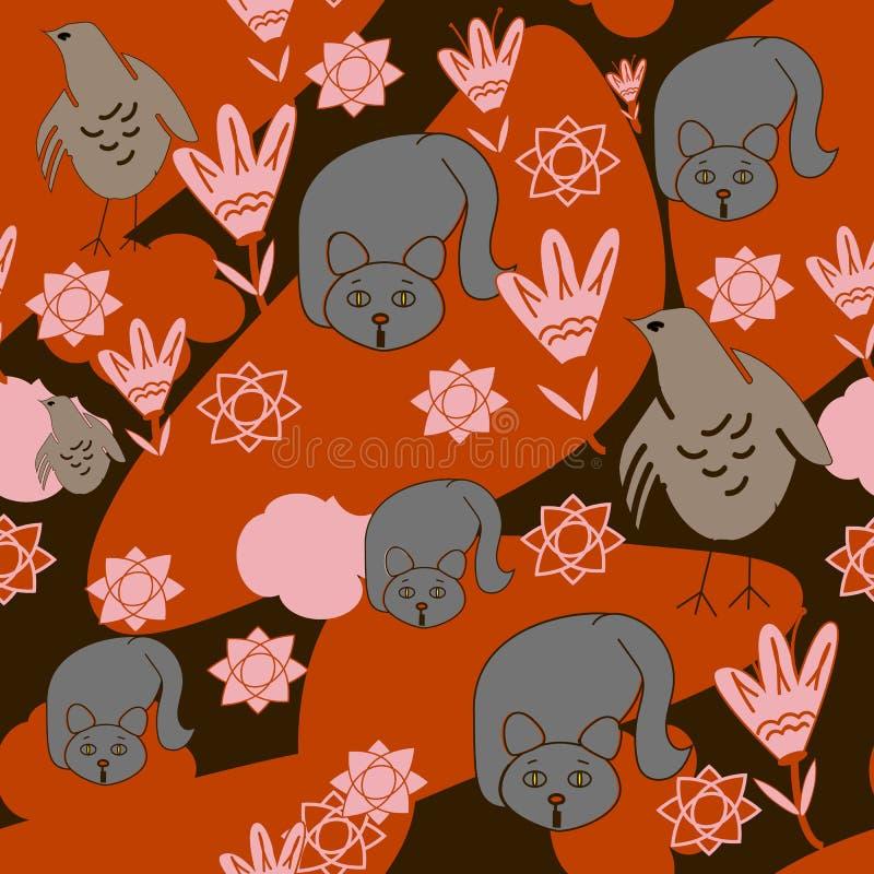Sömlös bakgrund av katter, höna, blommor, orange moln vektor illustrationer