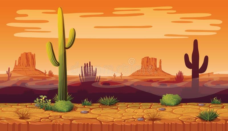 Sömlös bakgrund av landskapet med öknen och kaktuns vektor illustrationer