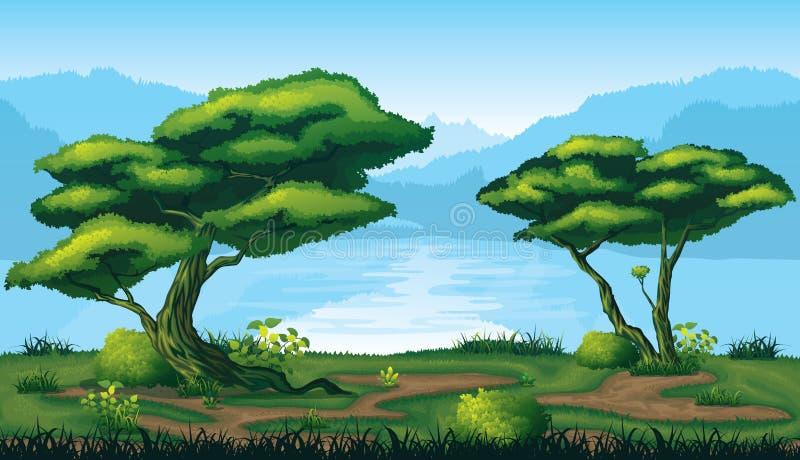 Sömlös bakgrund av landskapet med den djupa granskogen royaltyfri illustrationer
