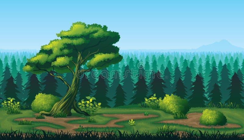 Sömlös bakgrund av landskapet med den djupa granskogen stock illustrationer