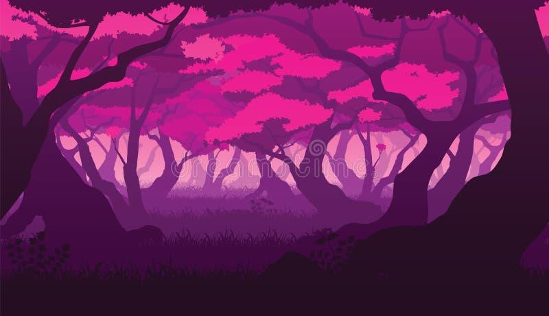 Sömlös bakgrund av landskapet med den djupa plana sakura skogen royaltyfri illustrationer