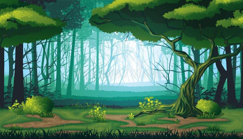 Sömlös bakgrund av landskapet med den djupa skogen royaltyfri illustrationer