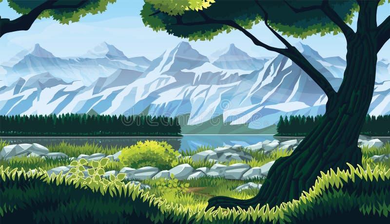 Sömlös bakgrund av landskapet med floden, skogen och berg royaltyfri illustrationer