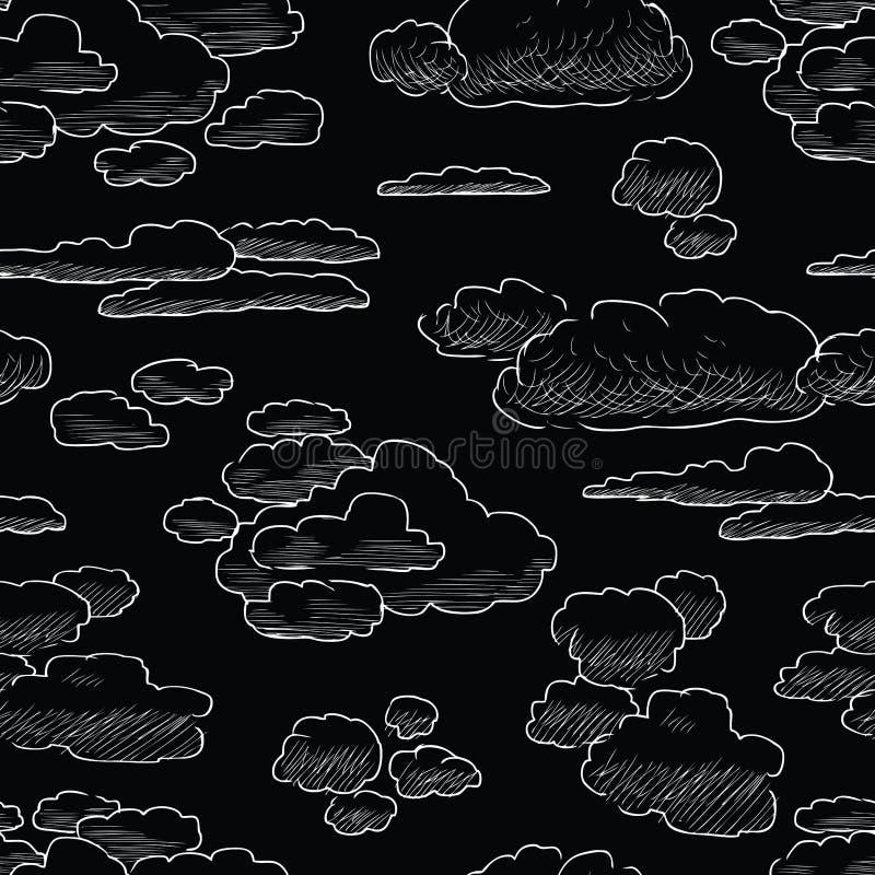 Sömlös bakgrund av olika moln skissar stock illustrationer