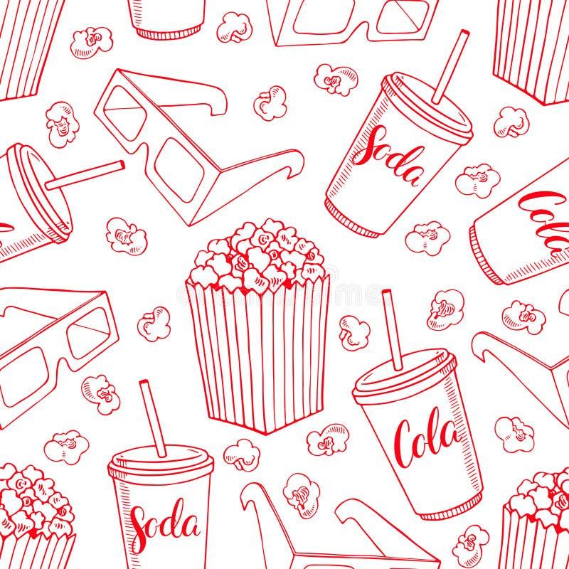 Sömlös bakgrund av popcorn royaltyfri illustrationer