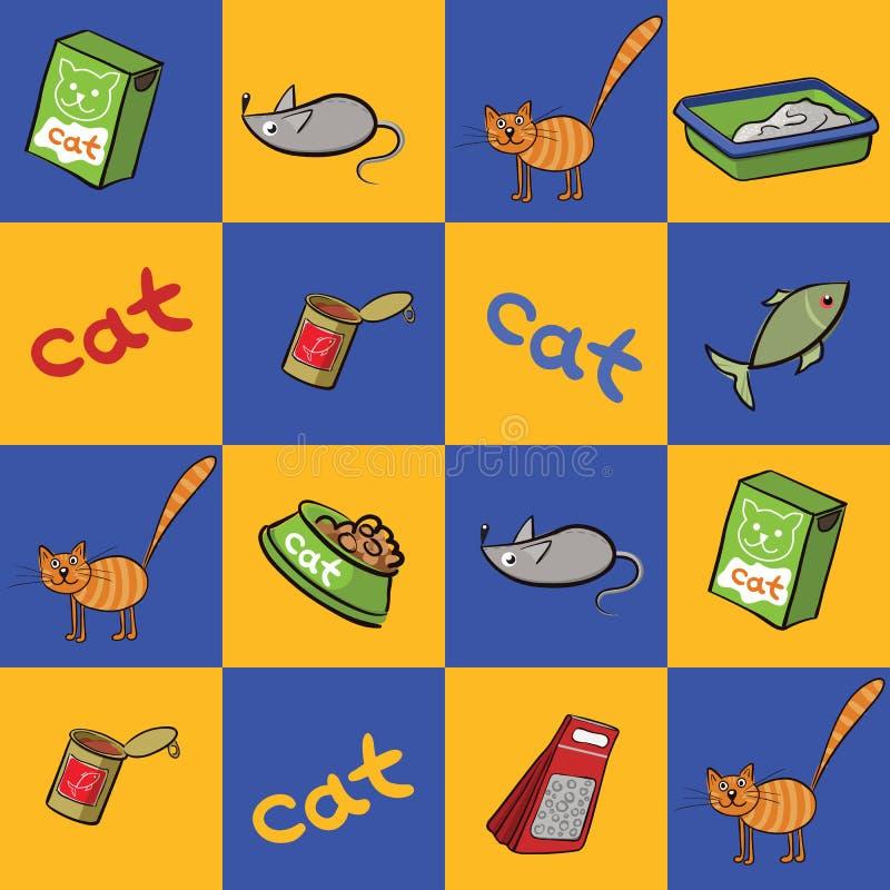 Sömlös bakgrund av produkter för katter också vektor för coreldrawillustration royaltyfri illustrationer