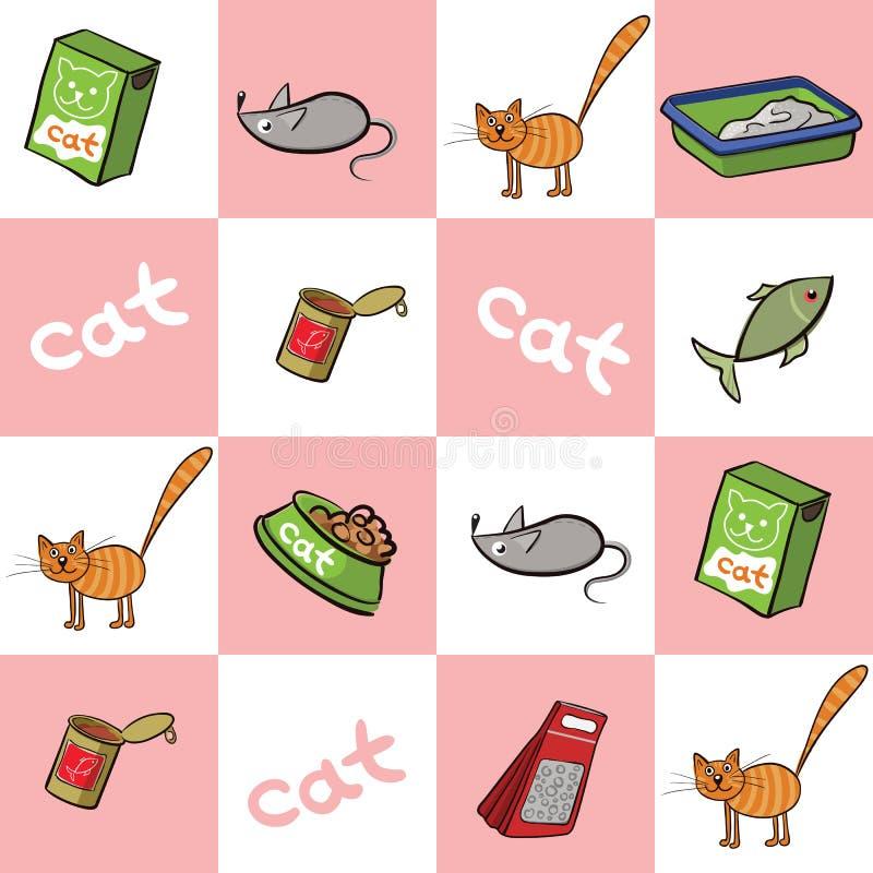 Sömlös bakgrund av produkter för katter också vektor för coreldrawillustration stock illustrationer