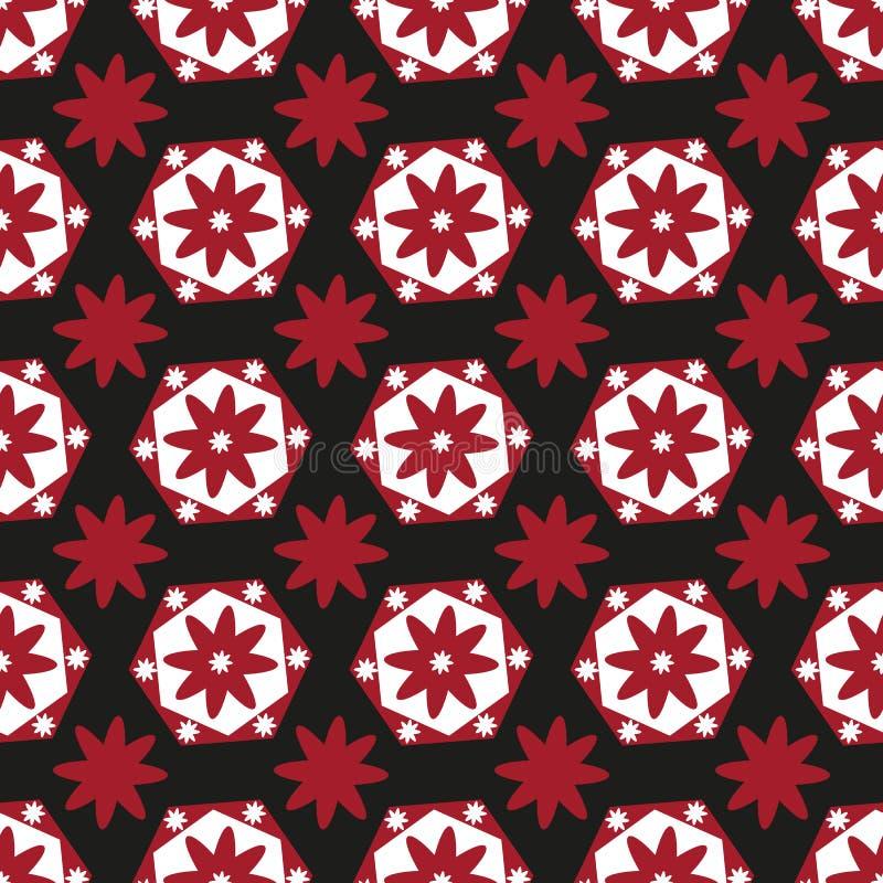 Sömlös bakgrund av röda och vita geometriska blommor på svart vektor illustrationer