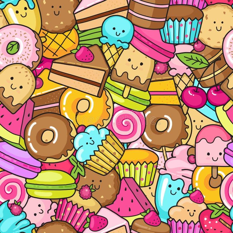 Sömlös bakgrund av sötsaken och efterrätten klottrar, bakar ihop, söta donat, kakor och macaron vektor illustrationer