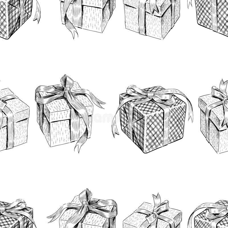 Sömlös bakgrund av skissar av olika gåvaaskar royaltyfri illustrationer