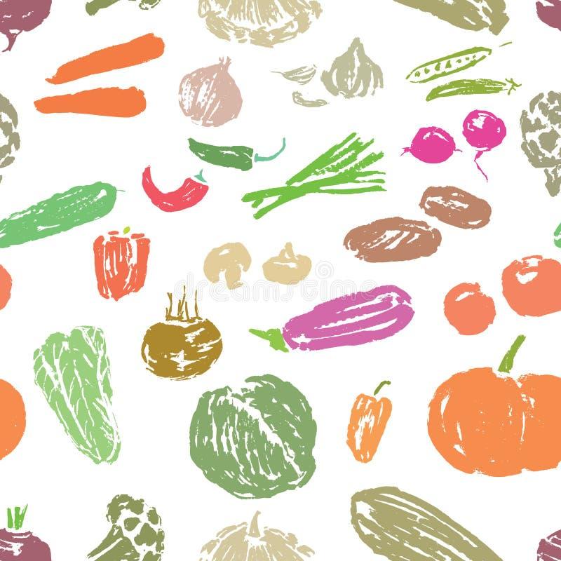 Sömlös bakgrund av skissar av olika grönsaker stock illustrationer