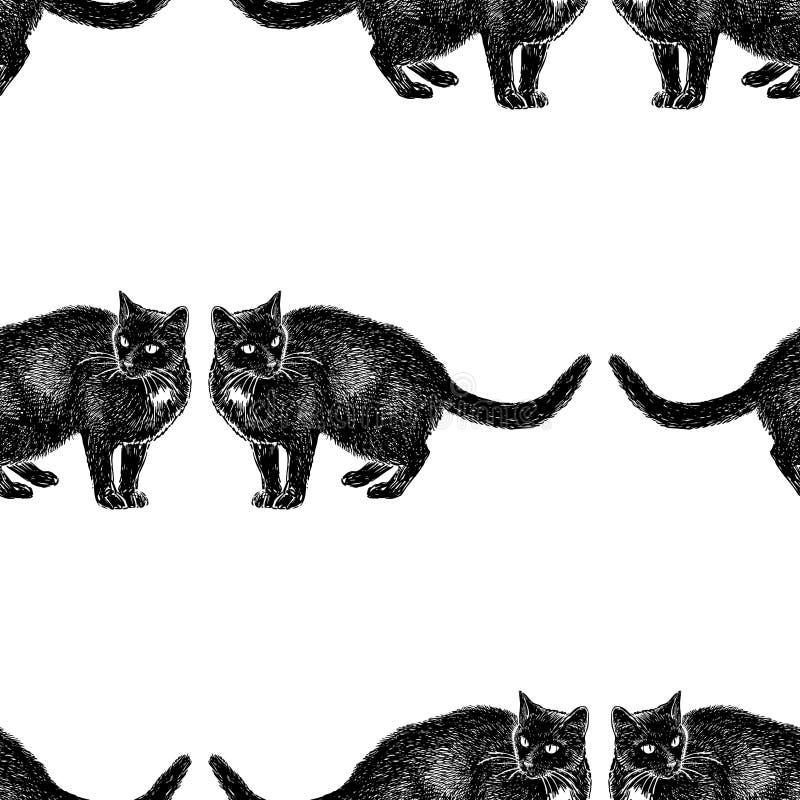 Sömlös bakgrund av skissar av svarta katter royaltyfri illustrationer