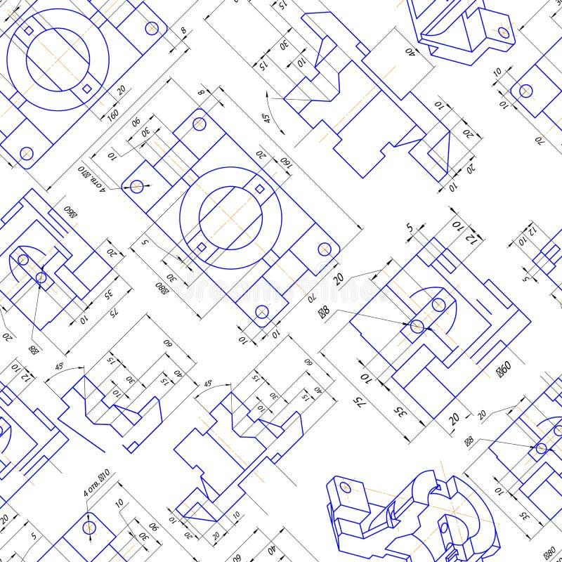 Sömlös bakgrund av teknikteckningar av delar vektor stock illustrationer
