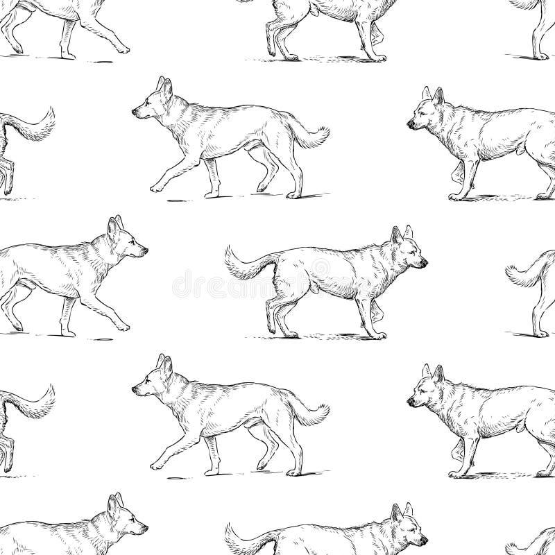 Sömlös bakgrund av vakthundkapplöpning skissar stock illustrationer