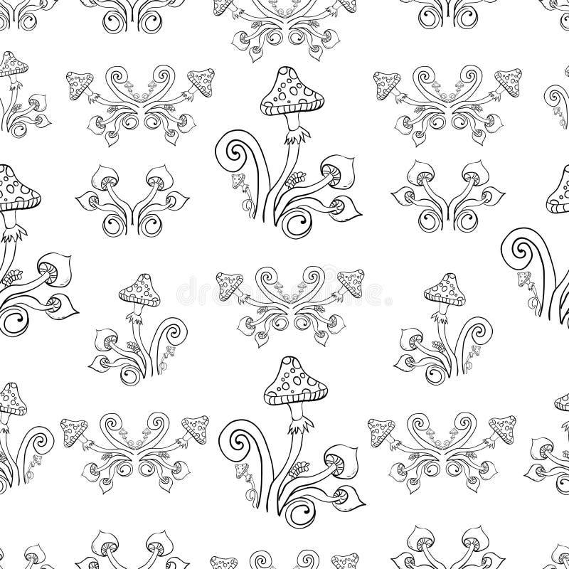Sömlös bakgrund, champinjoner, cirklar, färgläggning, grafiska beståndsdelar vektor illustrationer
