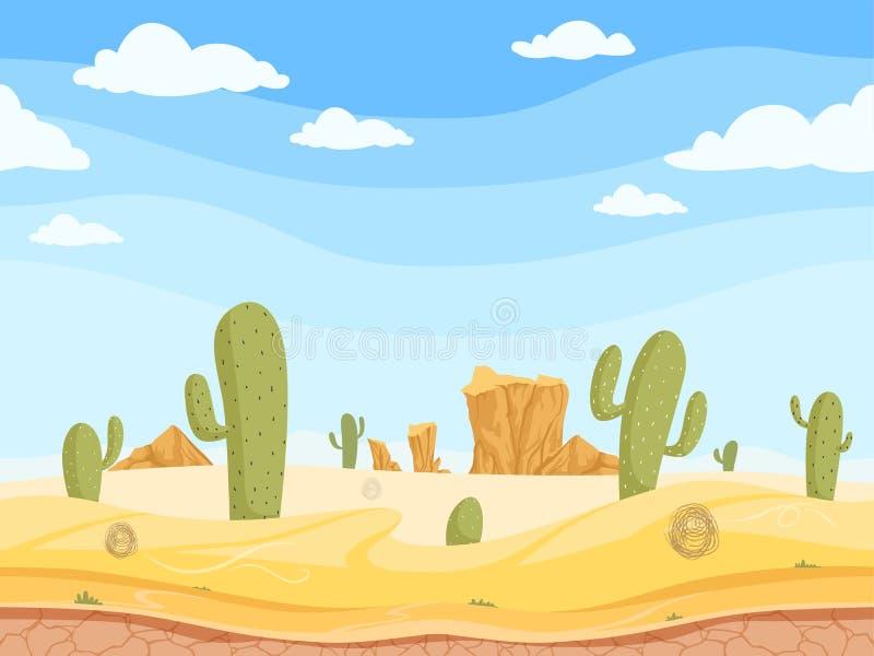Sömlös bakgrund för öken Det lösa västra modiga utomhus- västra kanjonlandskapet med stenar vaggar sandkaktusvektorn stock illustrationer