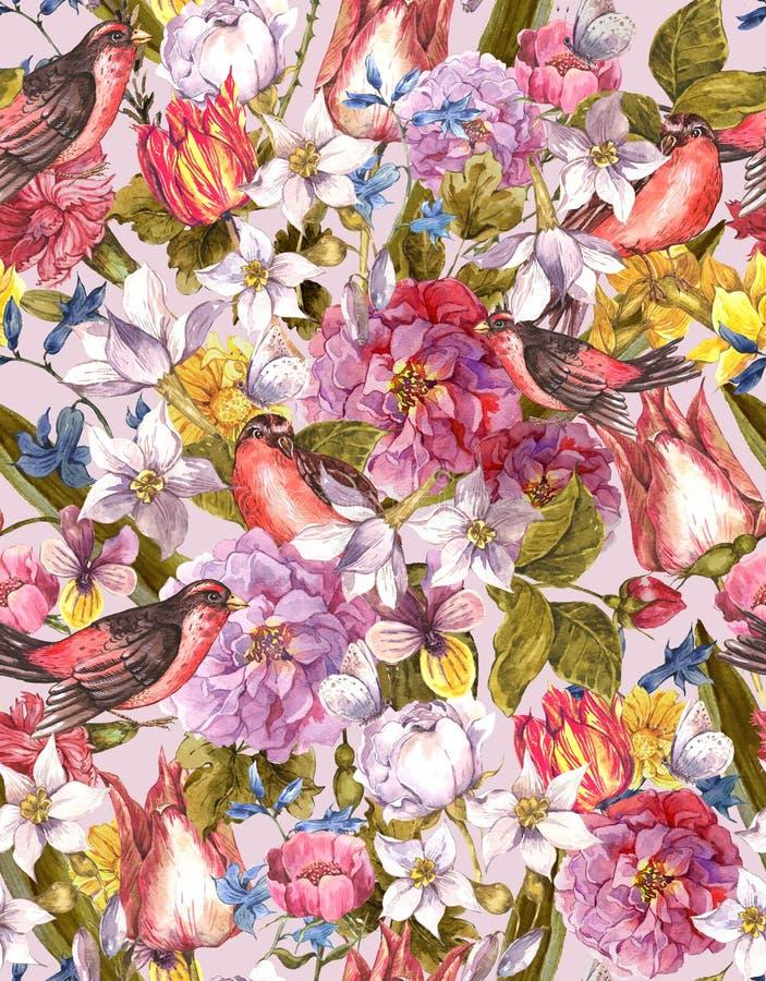 Sömlös bakgrund för blom- tappning med fågeln stock illustrationer