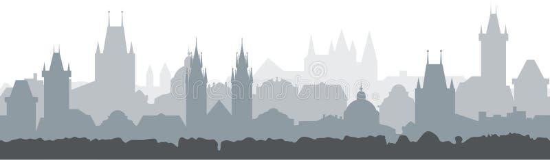 Sömlös bakgrund för Cityscape Vektorillustrationdesign - Prague stad royaltyfri illustrationer