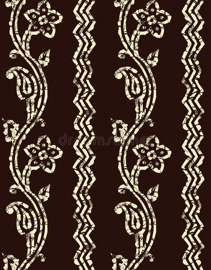 Sömlös bakgrund för design för paisley gränsbatik royaltyfri illustrationer