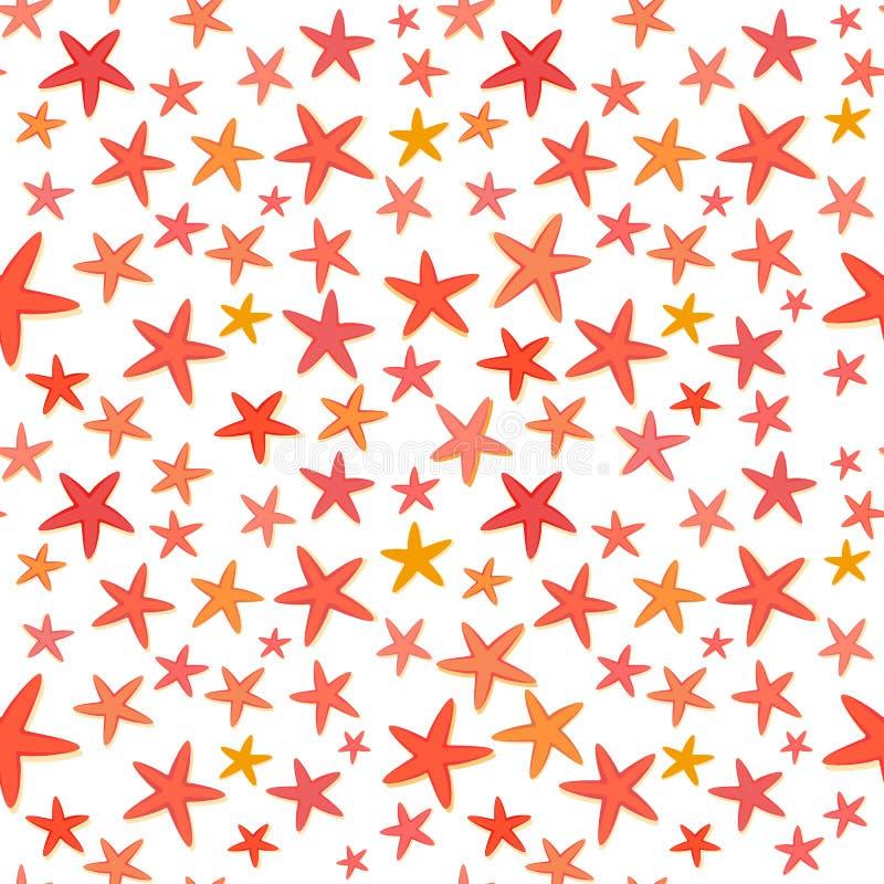 Sömlös bakgrund för färgrik sjöstjärnasommar vektor illustrationer
