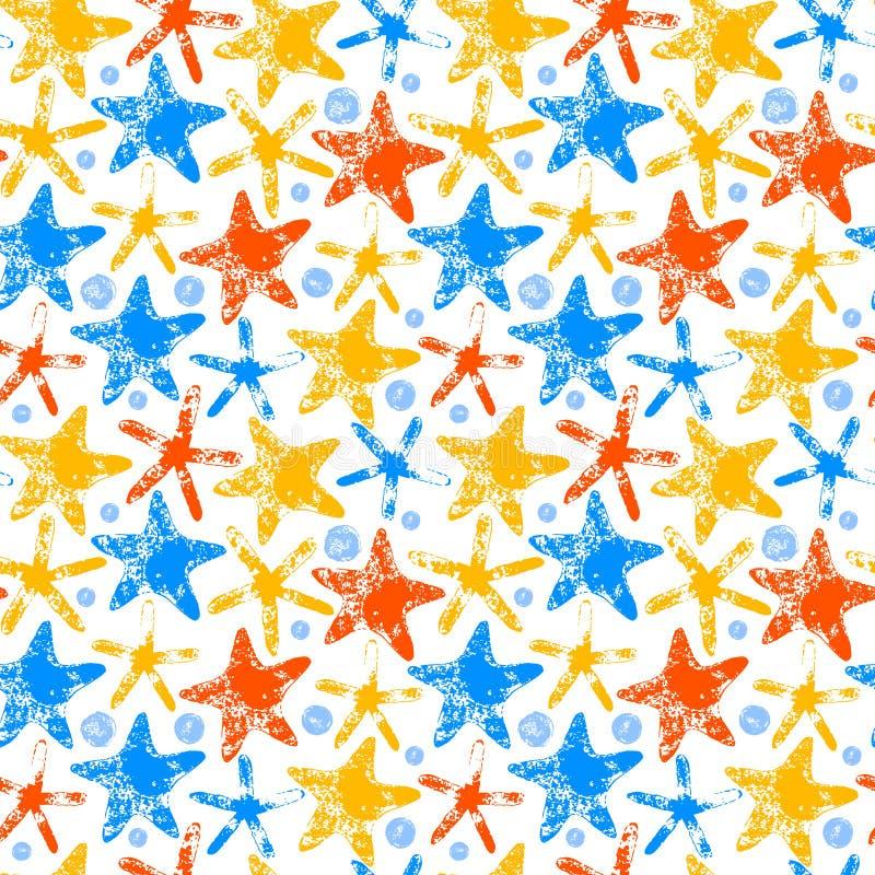 Sömlös bakgrund för färgrik sommar för sjöstjärnagrungetryck, vektor royaltyfri illustrationer