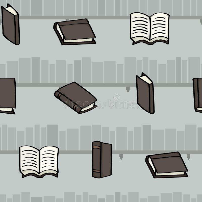 Sömlös bakgrund för för tecknad filmböcker och bokhyllor royaltyfri illustrationer