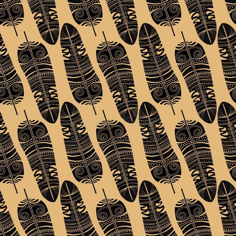 Sömlös bakgrund för fjäderkontur royaltyfri illustrationer