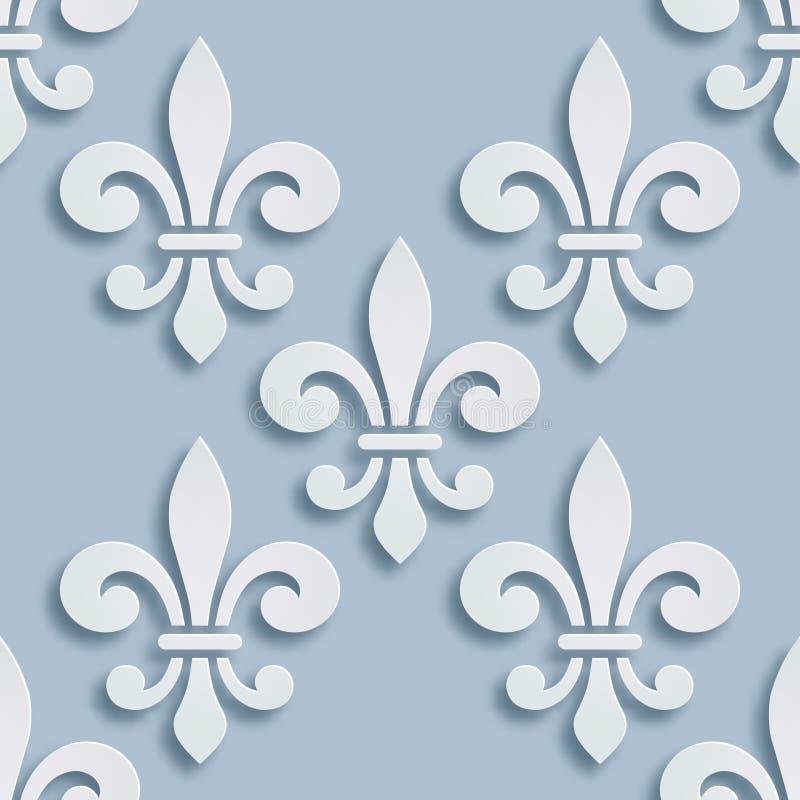 Sömlös bakgrund för fransk lilja Symbol av fransk heraldik Pappers- stilillustration Geometrisk basrelief för vektor vektor illustrationer