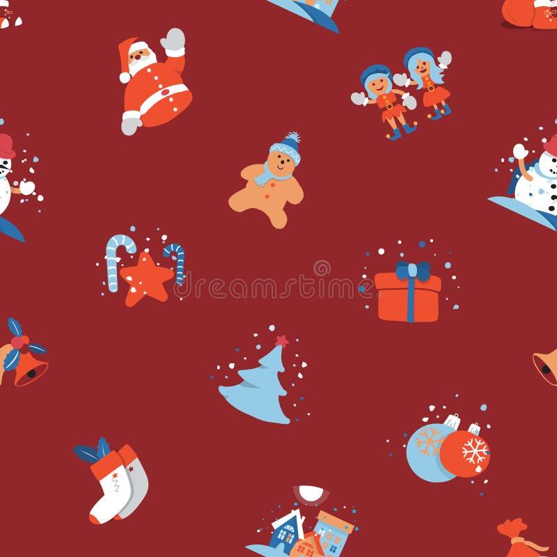 Sömlös bakgrund för glad jul med Santa Claus, gulligt tecknad filmtecken för ungar royaltyfri illustrationer