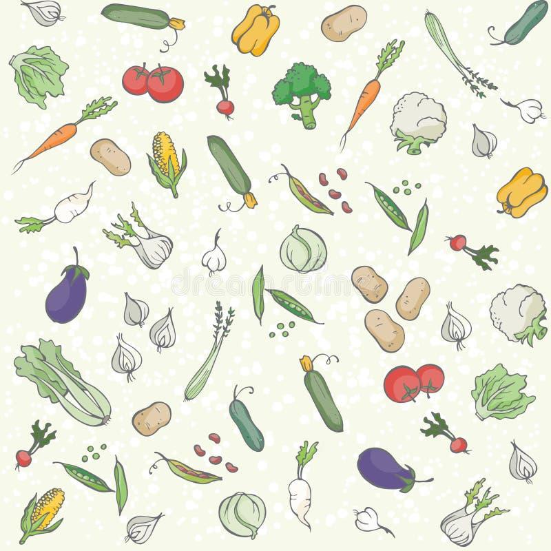 Sömlös bakgrund för grönsaker stock illustrationer