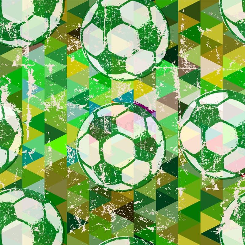 Sömlös bakgrund för grunge för fotbollboll bekymrad stock illustrationer