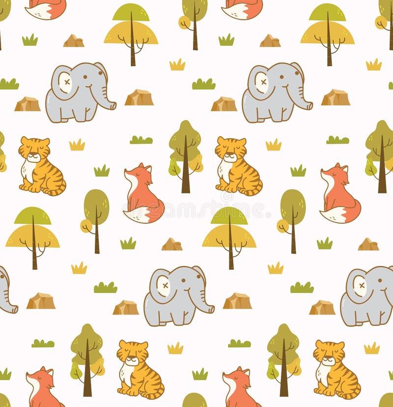 Sömlös bakgrund för gulliga djur med elefanten, tigern och räven stock illustrationer