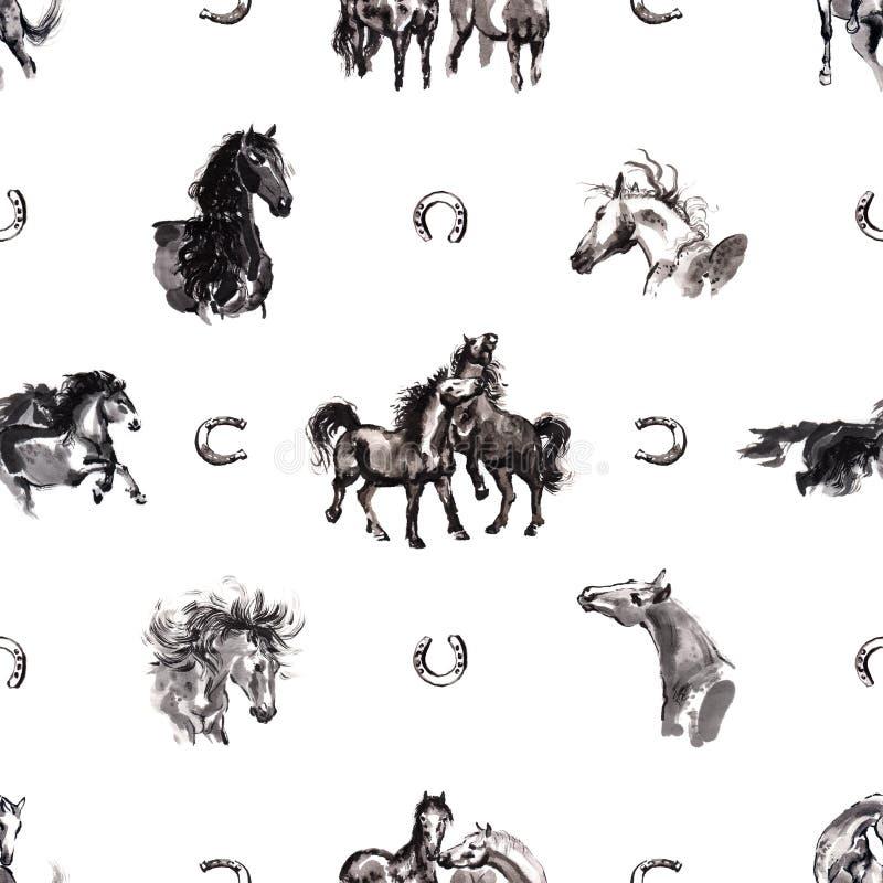 Sömlös bakgrund för hästar royaltyfri illustrationer