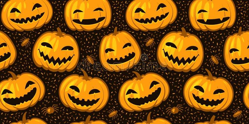 Sömlös bakgrund för Halloween-parten Bild på vektorn för mönsterpumpor vektor illustrationer