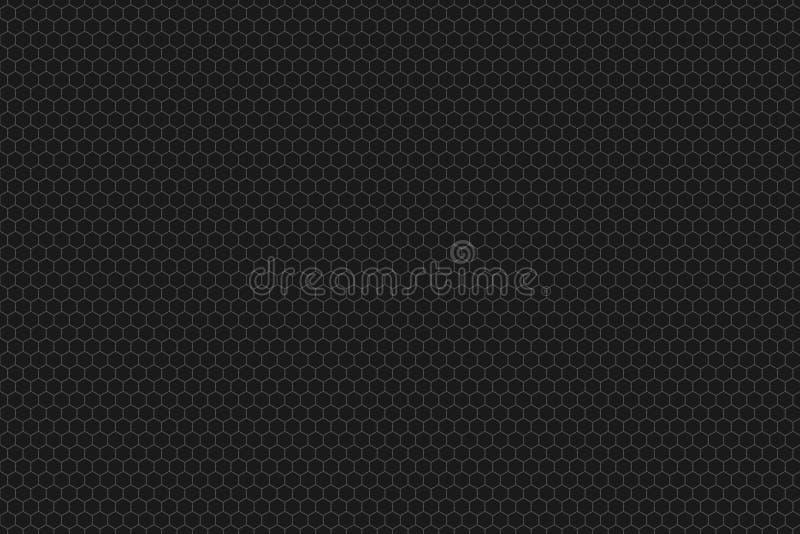 Sömlös bakgrund för honungskakarastertegelplatta eller sexhörnig celltextur i mörk färg som är svart eller royaltyfri illustrationer