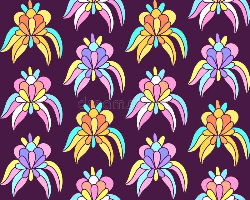 Sömlös bakgrund för imaginära tropiska exotiska blommor vektor illustrationer
