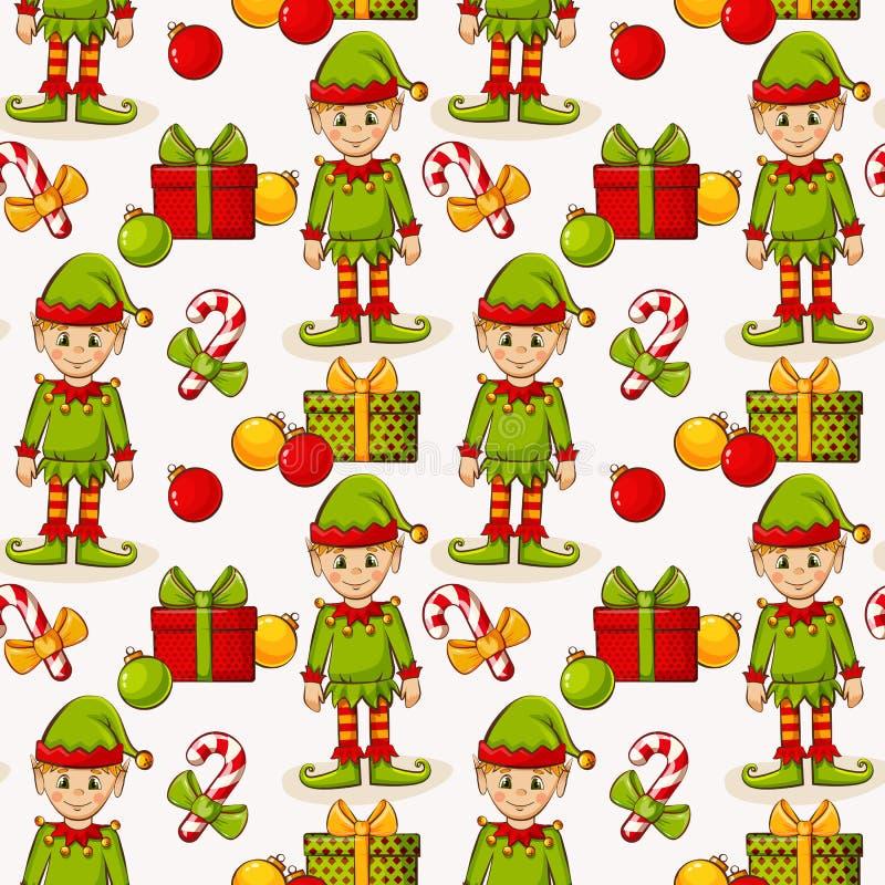 Sömlös bakgrund för jul med älvor color vektorn för möjliga variants för modellen den olika stock illustrationer