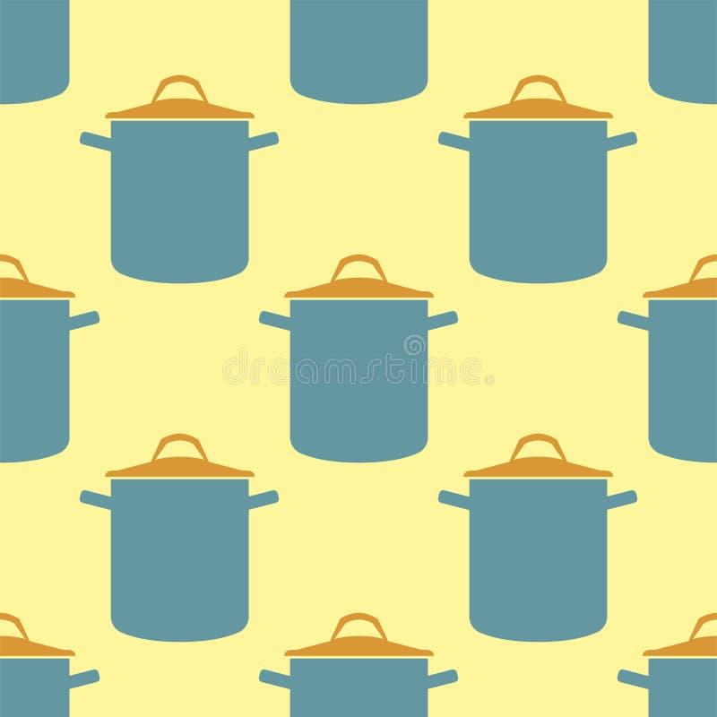 Sömlös bakgrund för kastrull för modellkrukavektor för redskapet för kitchenware för kökkockmat, soppa, eldfast formpannadesign stock illustrationer