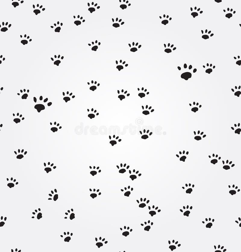 Sömlös bakgrund för kattPaw Prints vektor royaltyfri illustrationer