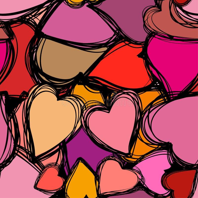 Sömlös bakgrund för klotterhjärtor Retro feriebakgrund för Valentine Day stock illustrationer