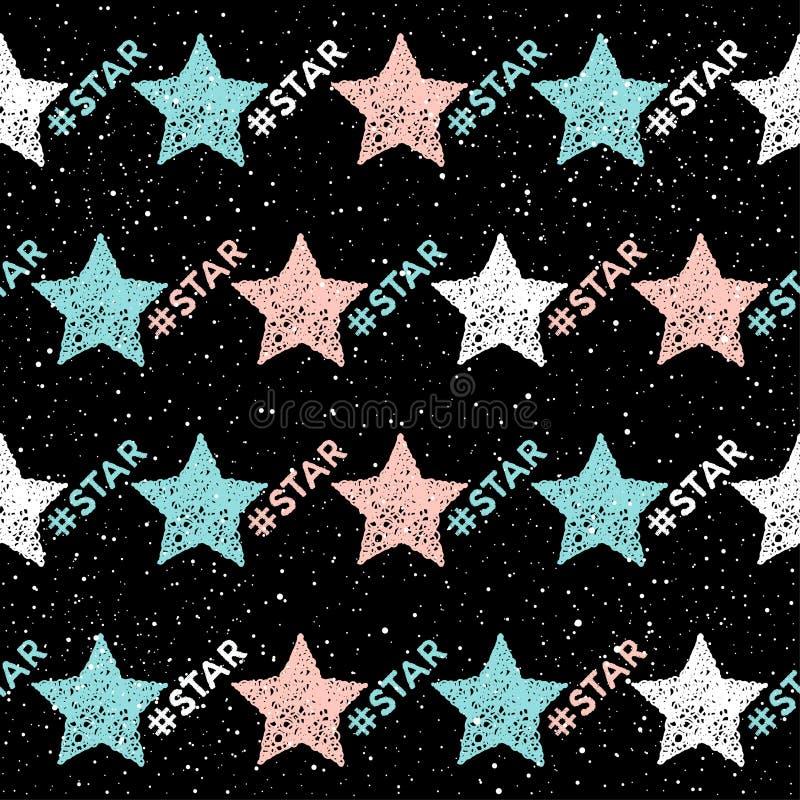 Sömlös bakgrund för klotterstjärna Abstrakt barnslig stjärnamodell stock illustrationer